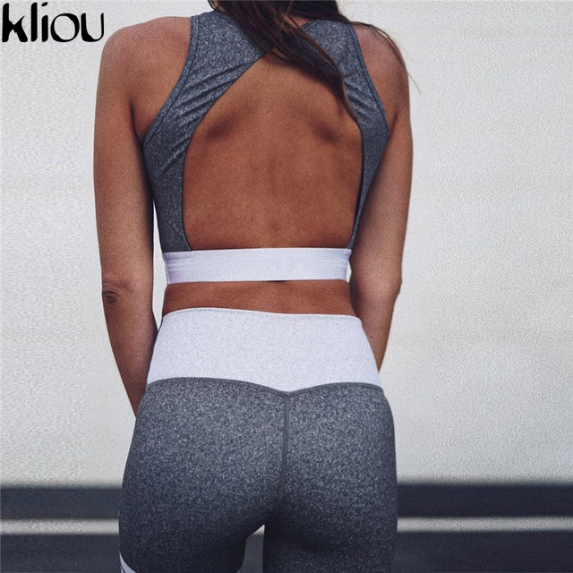 Fitness Crop Top back Hollow out And Legging Sets Femme Printed 2 Piece Set striped workout Tracksuit 2