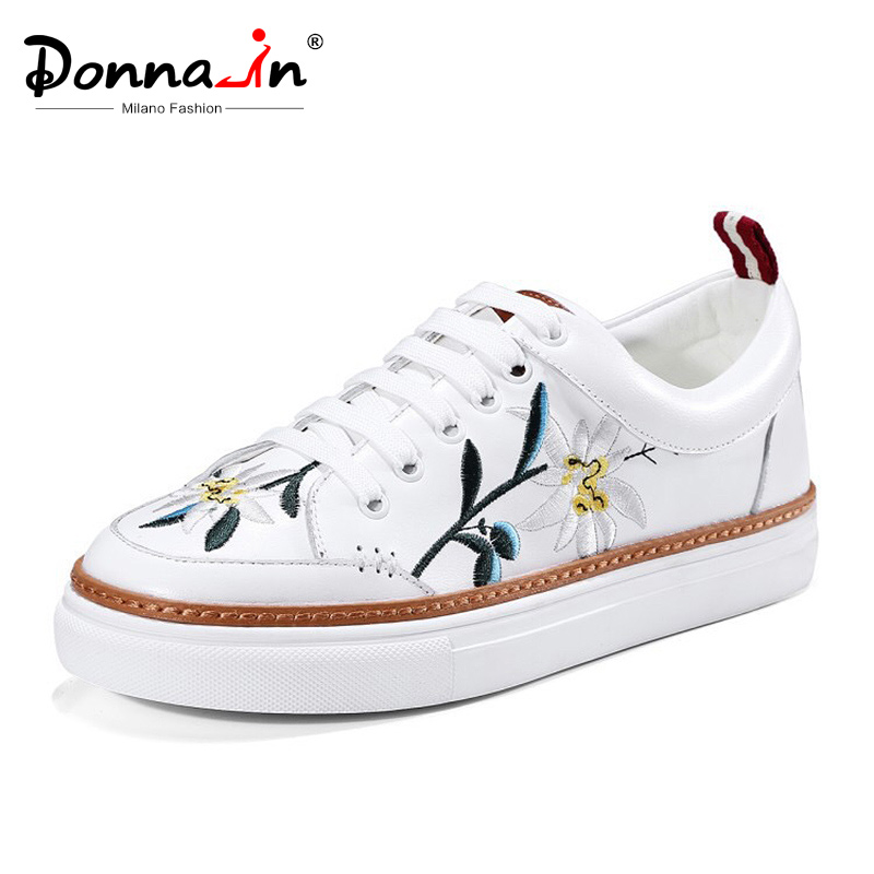Donna in New 2019 Spring Women Flats Sneakers Shoes Embroidery Flower Genuine Leather Lace up Fashion