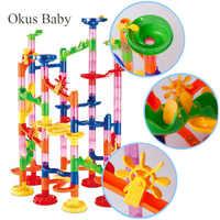 29/80/105 stücke Set DIY Bau Marmor Rennen Run Track Bausteine Kinder Maze Ball Rolle Spielzeug weihnachten Geschenk