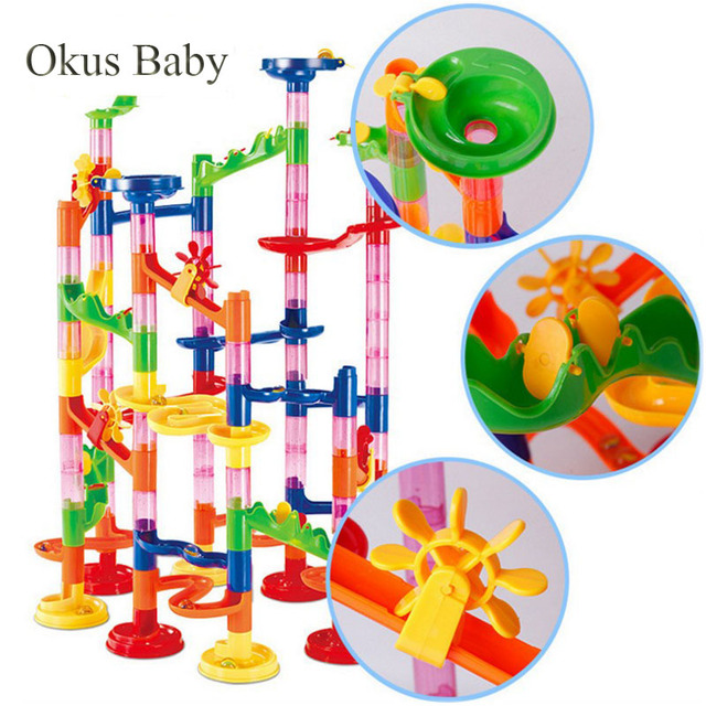 29/80/105pcs Set DIY Construction Marble Race Run Track Building Blocks Kids Maze Ball Roll Toys Christmas Gift