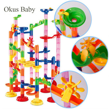 29 80 105pcs zestaw DIY marmur budowlany Race Run Track Building Blocks dzieci Maze Ball Roll Toys Christmas Gift tanie i dobre opinie XC023 Plastic Away From fire 5-7 lat 2-4 lat 8 ~ 13 Lat