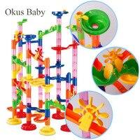 80/105/109/133pcs Set DIY Construction Marble Run Race Track Building Blocks Kids 3D Maze Ball Roll Toys Children Christmas Gift