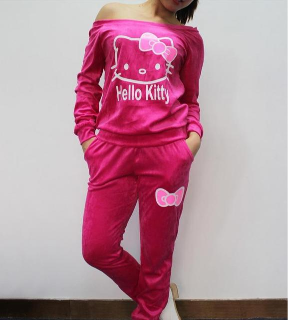 d9c67af7d Women Velvet Sport Suit Tracksuits Casual Hello Kitty Printed Sportwear 2  Piece sets jogging clothing Pullover Sweatshirt+pant