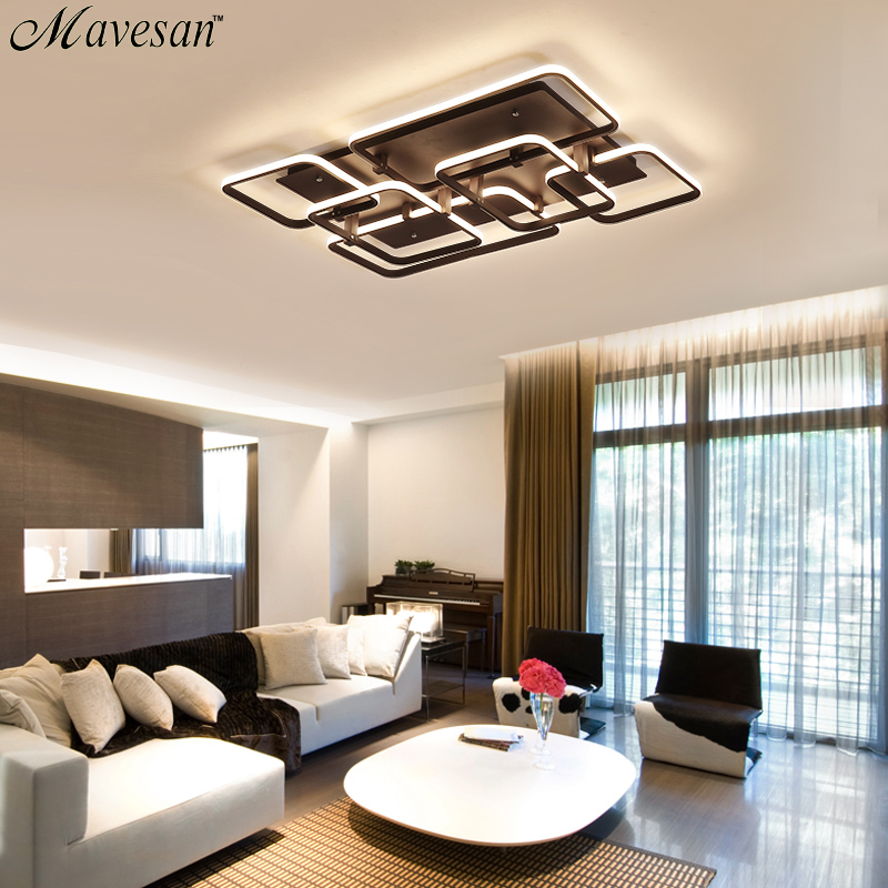 Us 57 0 49 Off Acrylic Living Room Led Ceiling Lights For Study Lighting Fixtures Lampe Plafond Home Remote Control 128w In