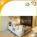 1.8 m blanco moderno muebles de dormitorio cama de cuero de grano superior con asiento # CE-096