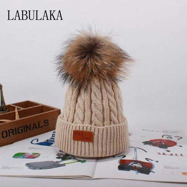 Woolen Hat With Pom poms Winter Baby Faux Fur Pompom Hat Warm Children  Skullies Beanies Cap Casual Boys Girls Cotton Knit Caps 36fe4390ed5