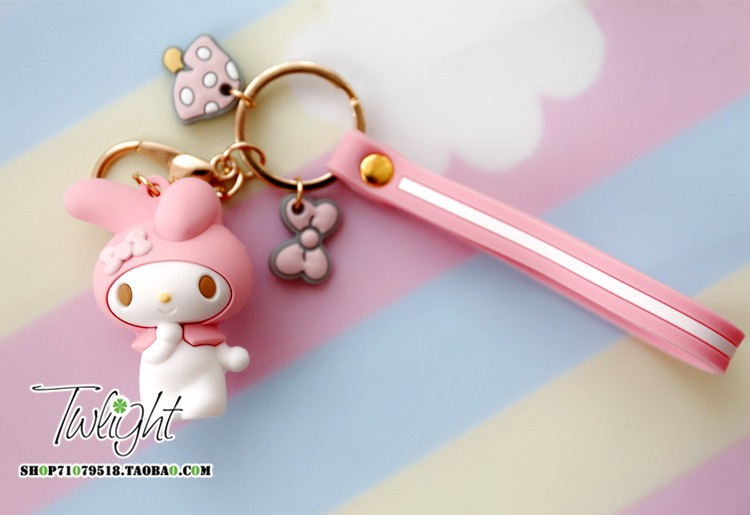 New kawaii cartoon melody animal frog,twin stars action figure pudding dog keychain for kids pendant