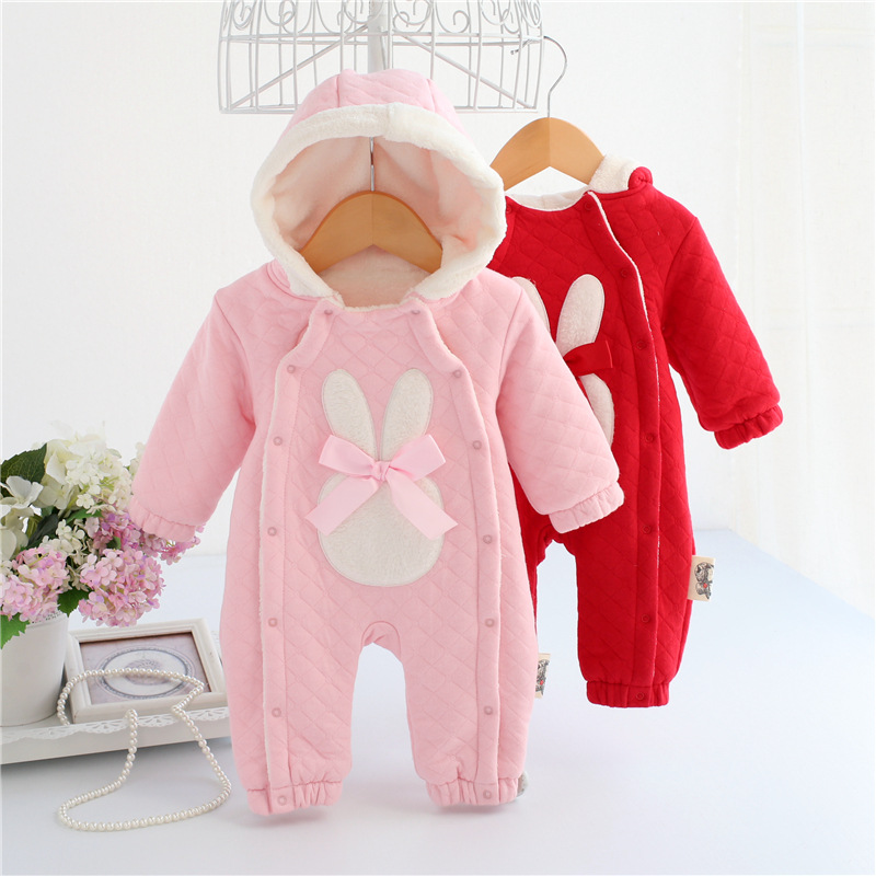 Winter Baby Girl Rompers Hooded Thicken Cotton Newborn Jumpsuit Long Sleeves Ropa Infant Romper Winter Baby Girl Clothes winter warm thicken newborn baby rompers infant clothing cotton baby jumpsuit long sleeve boys rompers costumes baby romper