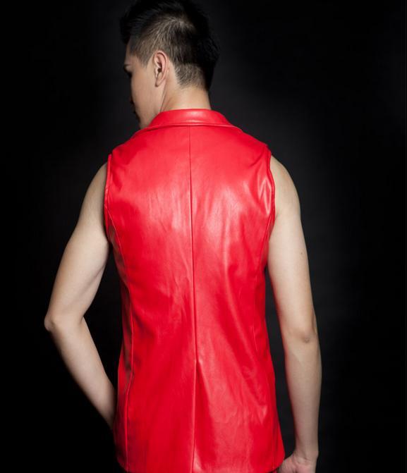 Ropa Punk a la moda para hombre, chaleco rojo de cuero con remaches delgados, trajes de actuación para cantantes europeos doudoune sans manche, chaleco para hombre - 3