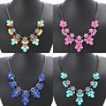 2015 New 7 Colors Resin Crystal Flower Charm Statement Necklace Silver Chain Choker necklaces & pendants For Woman Jewelry