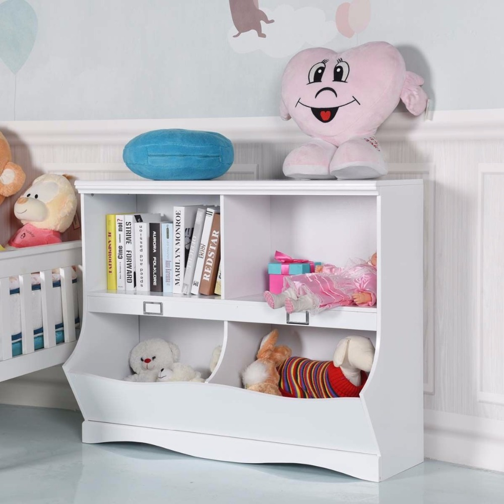 Giantex Children Storage Unit Kids Bookshelf Bookcase White Baby Toy Organizer Shelf Modern Furniture HW57075