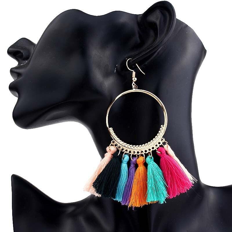 2019 New Fashion Bohemian Tassel Gold Metal Long Earrings White Red Silk Fabric Drop Dangle Tassel Earrings for Women Jewelry 5
