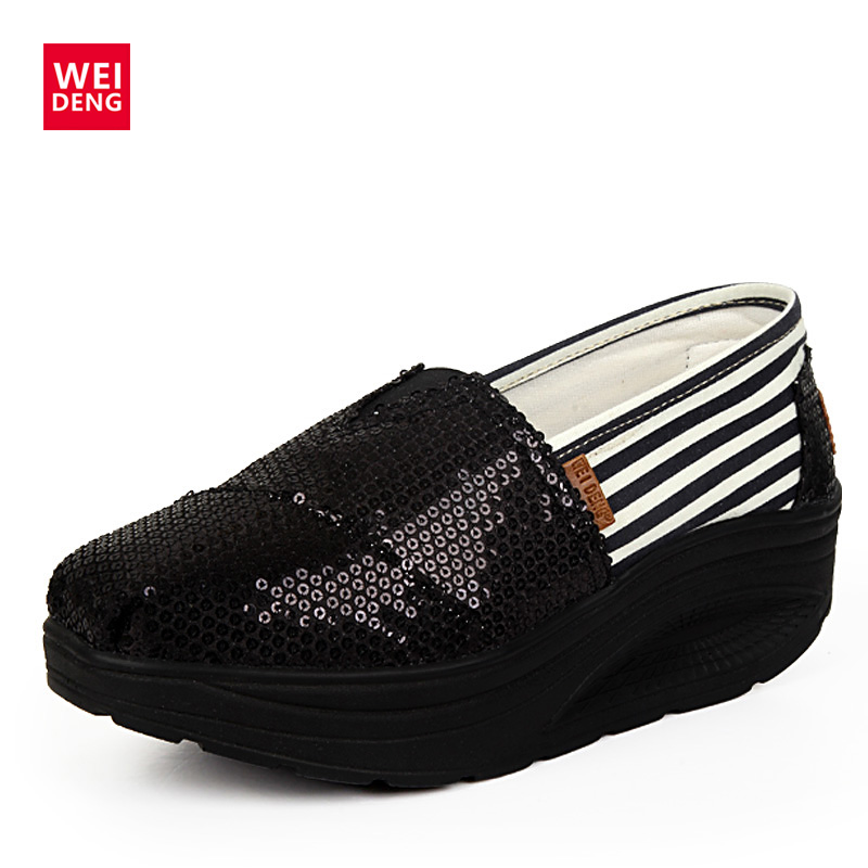 WeiDeng Bling Flats Sequins Shake Shoes Wedge Black Platform Shoes Women Loafers Leisure Fashion Slip On Sapato Perola Spring 2017 new women s casual shoes sliver black platform shoes female slip on loafers bling flat shoes chaussure femme sapato x042705