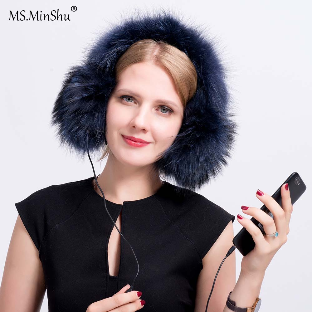 MS.MinShu Genuine Raccoon Fur Earmuff Headphone Winter Ear Warmer With Audio Fashion Fox Fur Earmuff Thick Fur Ear Cover Warmer