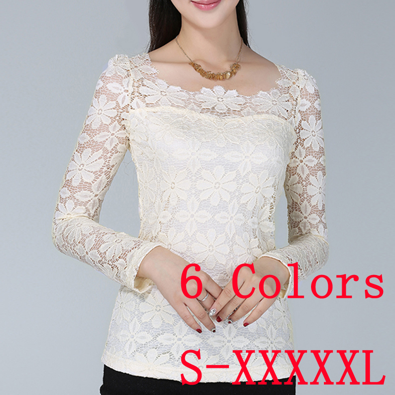 Hot 2015 New Solid Color O-Neck Long Sleeve Ladies Chiffon Shirt Lace Blouse Income Women's Blouses Plus Size Women Clothing Top - Kero Fashion International store