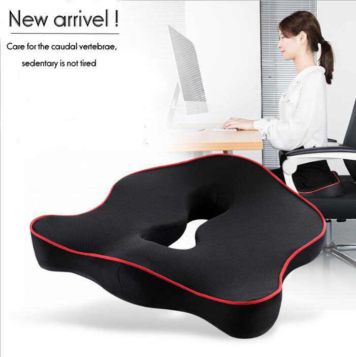 Tecido de malha de Espuma de Memória Lenta recuperação Almofada Para Cadeira de Assento de Carro Home Office Nádegas Almofada Assentos Macios Respirável Oco