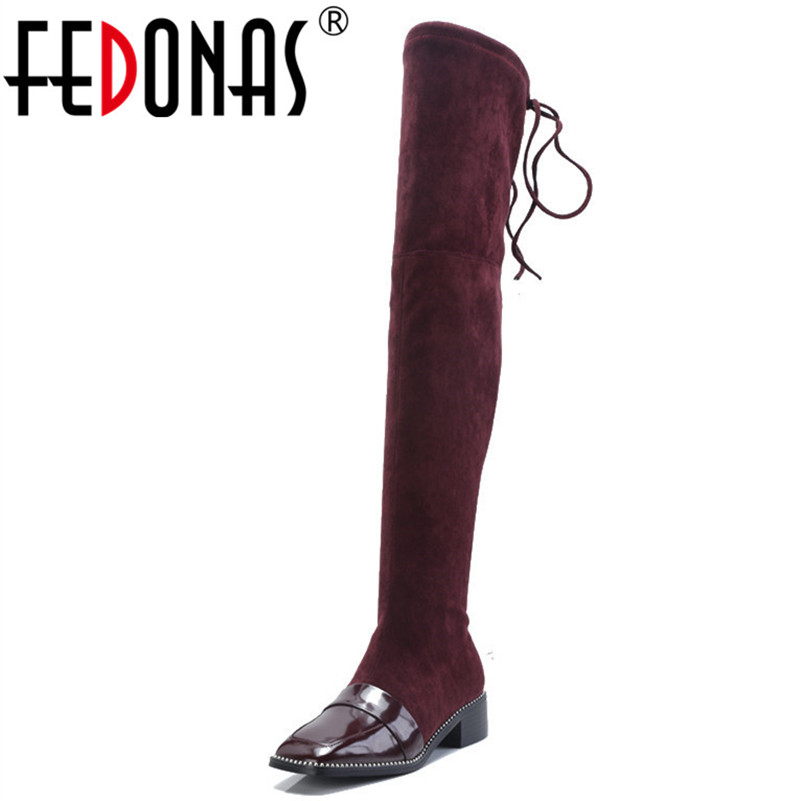 купить FEDONAS Brand Women Over The knee High Boots Square Toe Tigh High Long Warm Winter Shoes Woman High Heels Motorcycle Boots по цене 3988.05 рублей