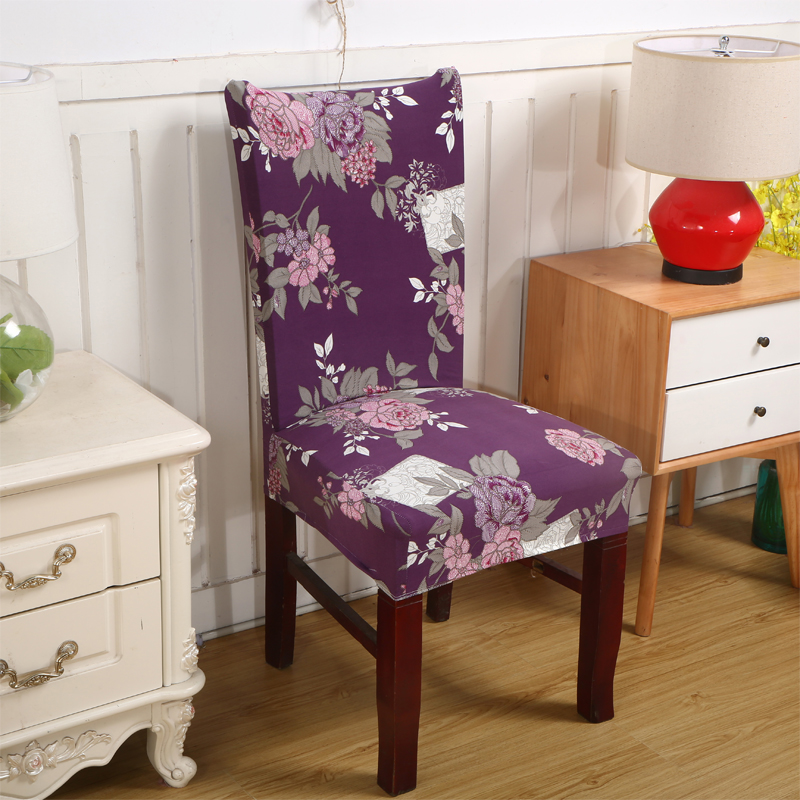 Spandex Elastic Polyester Chair Covers Purple Flowers Printed For Weddings Party Banquet Dining