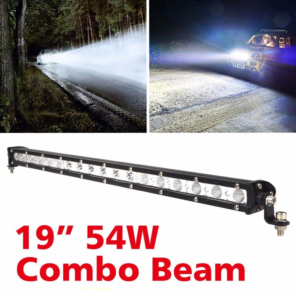 2017 offre spéciale 54 W haute intensité barre de lumière LED unique travail tout-terrain pour Jeep camion 4*4 SUV ATV tracteur Combo phare barre