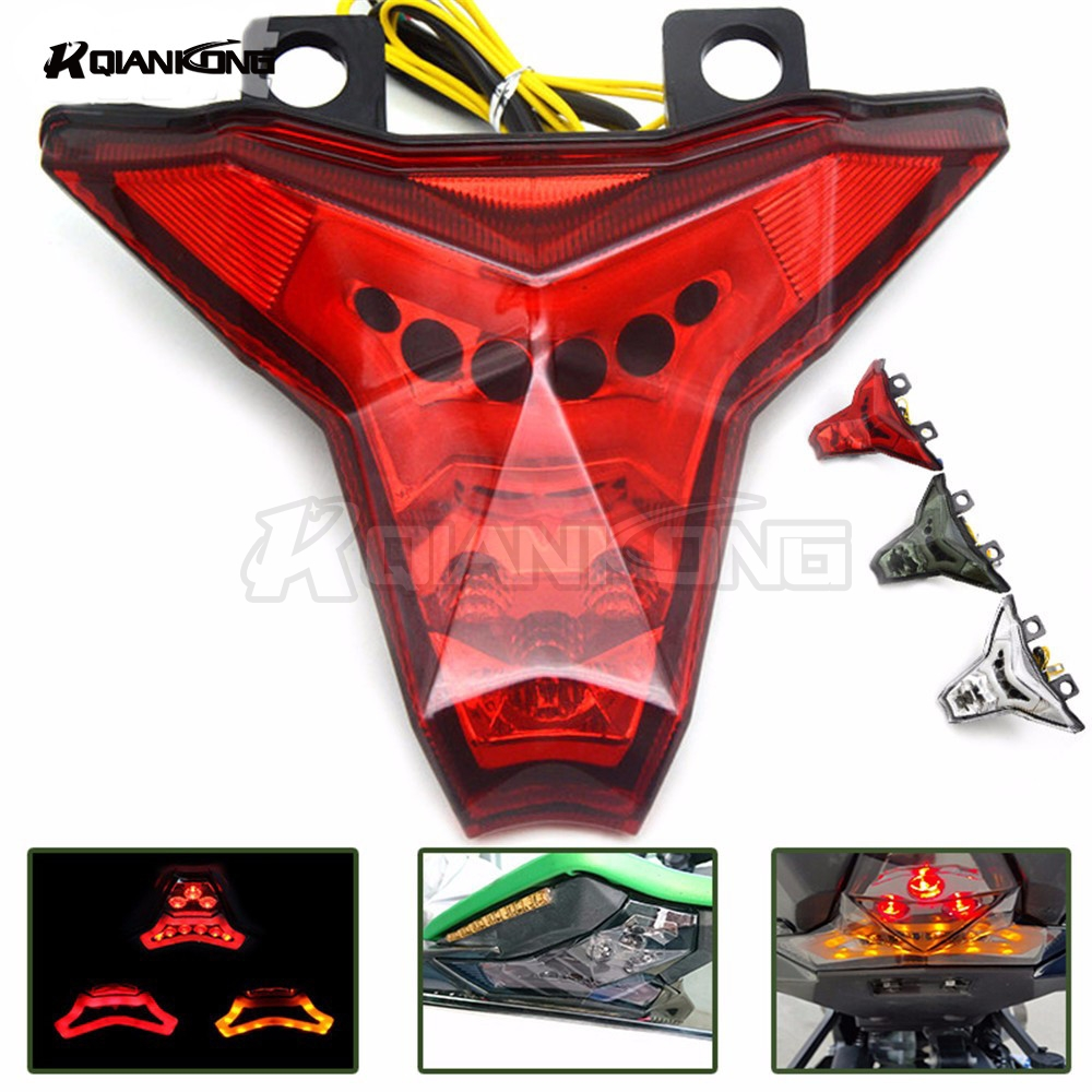 R QIANKONG LED moto Tail Light Taillight Rechargeable Safety Warning Rear Light Lamp for kawasaki ZX-10R NINJA MONSTER ENERGY r qiankong clear