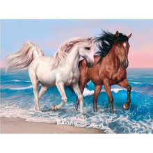 Full Square Diamond 5D DIY Painting Beach couple horse Embroidery Cross Stitch Rhinestone Mosaic Decor