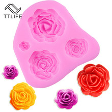 TTLIFE 4 Holes Rose Flower Silicone Mold Fondant Cake Pastry Decorating Tools Confeitaria Chocolate Baking Moulds Kitchen Gadget