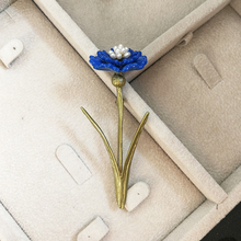 Vanssey Vintage Fashion Blue Flower Leaf  Natural Pearl Green Coating Copper Brooch Pin Party Wedding Accessory for Women 2018