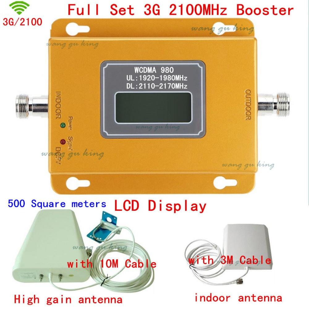 Полный комплект ЖК дисплей для России 3g 2100 МГц усилитель сигнала мобильного телефона 3g 2100 повторитель сигнала крышка усилителя 500 квадратны