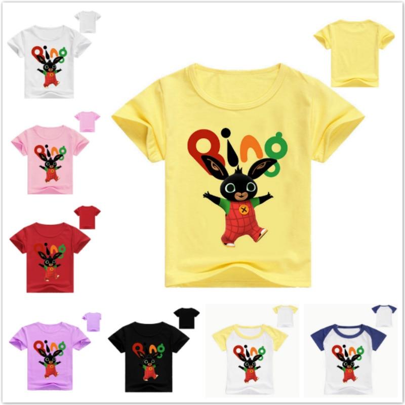 Summer Kids Baby Boys Short Sleeve T Shirts Bing Bunny Print Girls T-Shirts Children's Shirt Rabbit O-Neck Tee Tops Boy Clothes