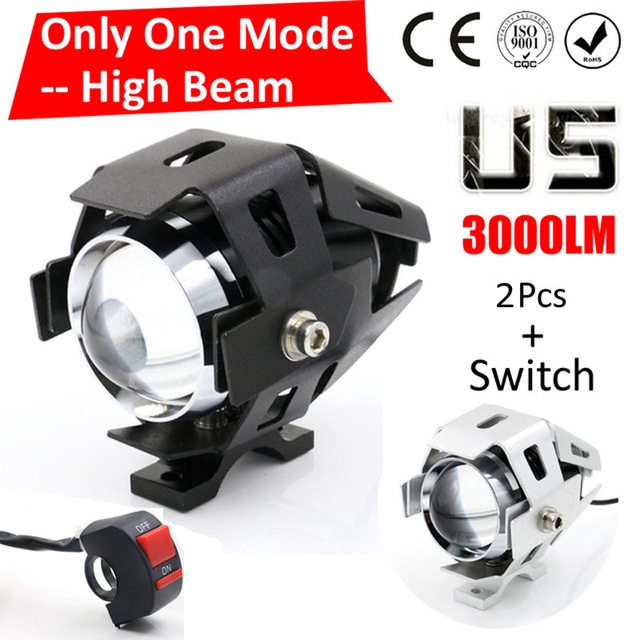 One Mode Hgih Beam LYLLA 125W 2 Color Motorcycle Motorbike Headlight 3000LM U5 LED Driving Fog Spot Head Light Lamp