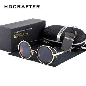Image 2 - HDCRAFTER lunettes de soleil pour hommes et femmes, verres miroirs, style Steampunk, unisexe, Vintage, rétro