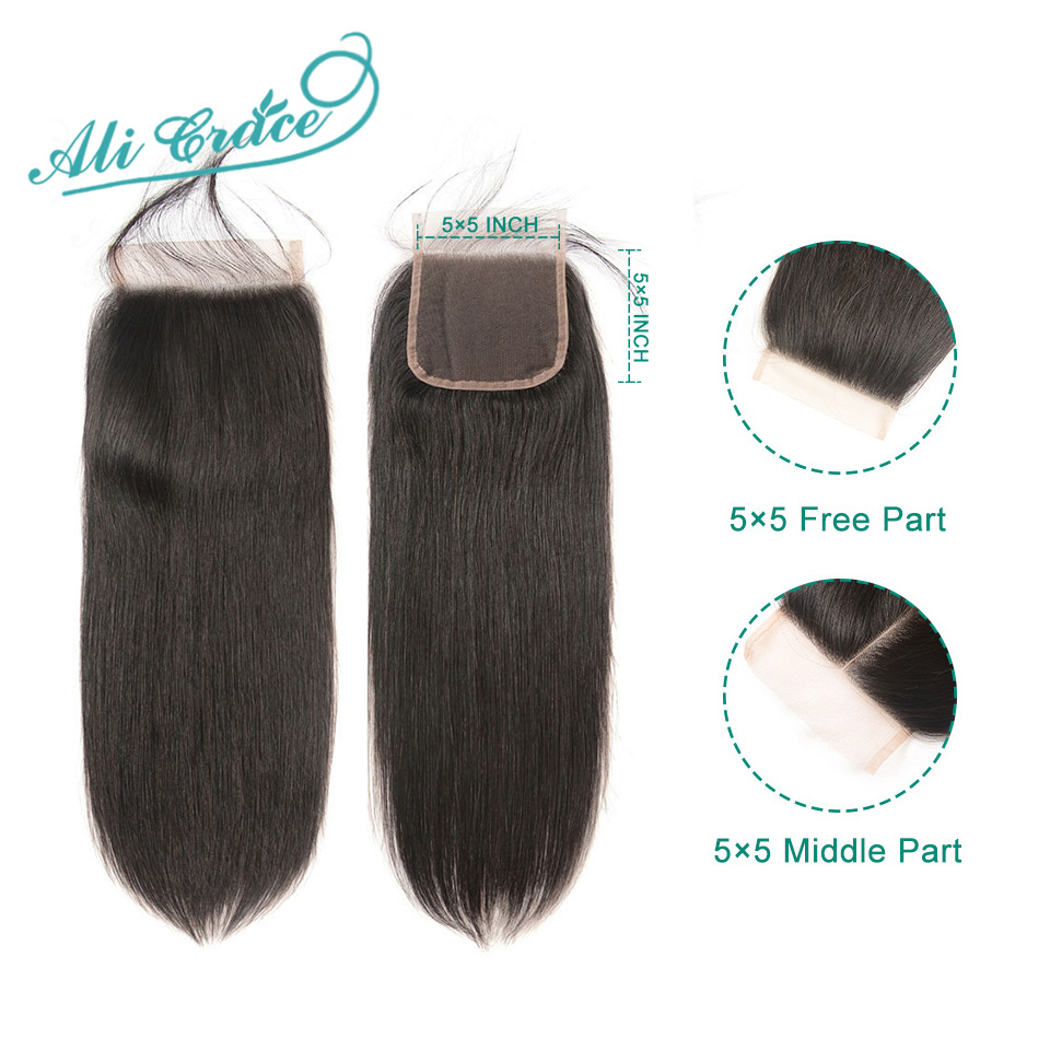 Ali Grace 5x5 Lace Closure Straight Human Hair Closure With Baby Hair Medium Brown Swiss Color Brazilian Hair Closure(China)