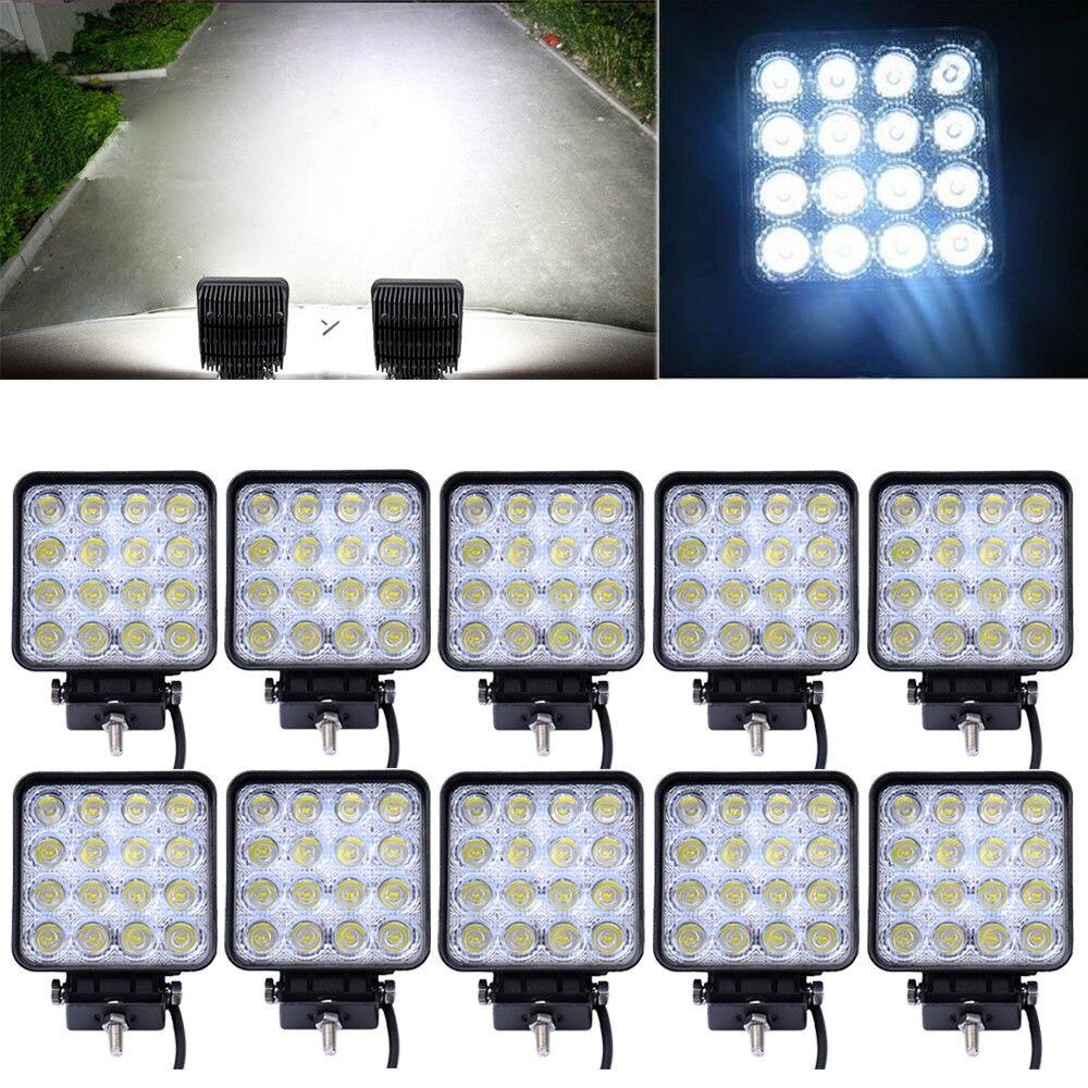 10 PCS/Lot 48 W voiture Spot lampe de travail camion moto hors route brouillard lampe tracteur voiture phare LED conduite lumière carré/rond