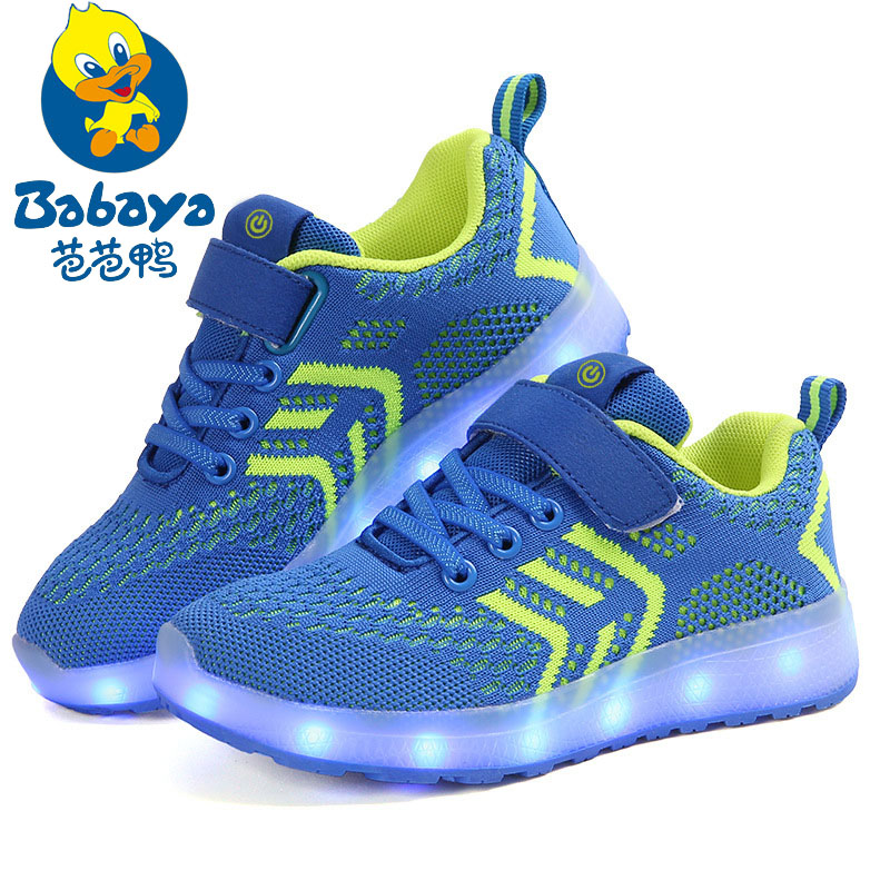 BABAYA Children USB Charge Colorful Led Back Light Shoes Mesh Girls Flash Luminous Sneakers Boys Glowing Sneakers Kids Shoes 2016 spring new arrival children led light shoes boys and girls breathable shoes kids usb charging flash colorful luminous shoes