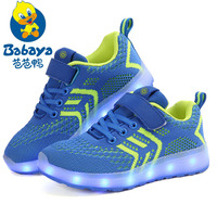 BABAYA Children USB Charge Colorful Led Light Shoes Mesh Girls Flash Luminous Sneakers Boys Glowing Sneakers