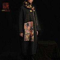 Jiqiuguer оригинальный дизайн женское свободное платье длинный принт шить круглый воротник соответствующие платье весна осень G183Y028