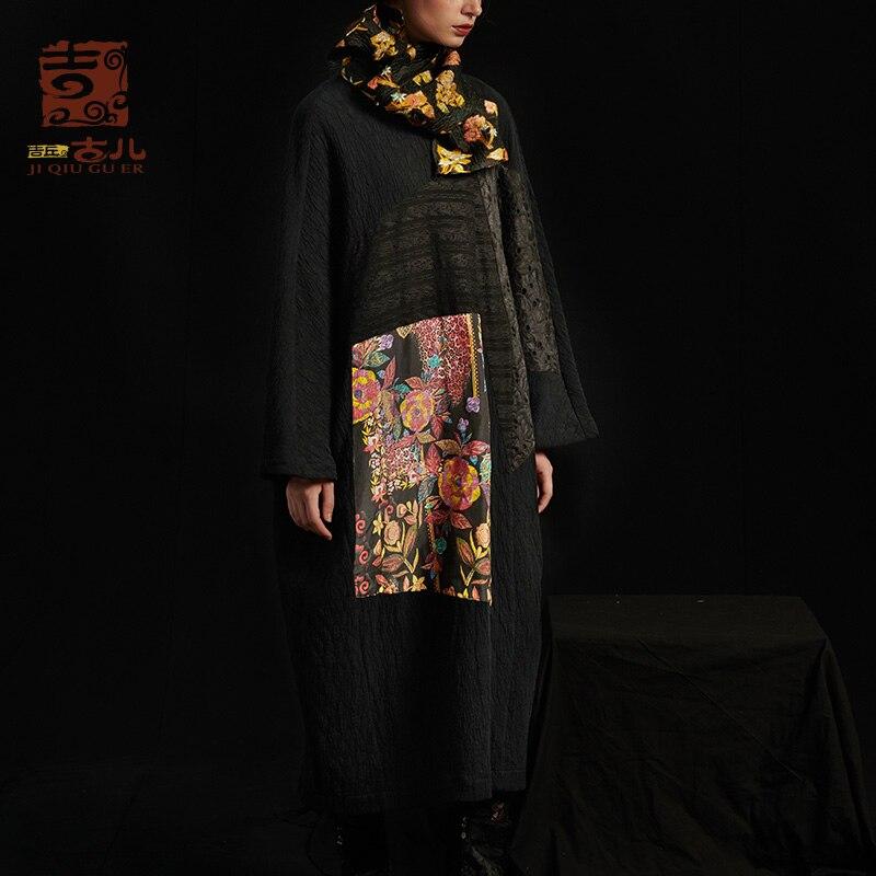 Jiqiuguer conception originale femmes lâche robe longue impression couture col rond correspondant robe printemps automne robe G183Y028