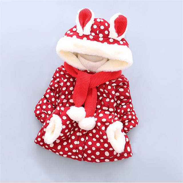 2016 hot selling baby girl outerwear fashion polka dot hooded coats for winter soft warm infant toddler snow wear