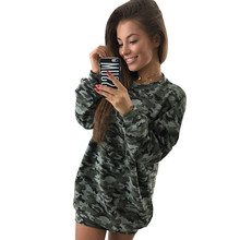 Autumn Winter Women Sweatshirt 2019 Casual Camouflage Green Warm Loose Hoodies Long Sleeve BF Plus Size XL Pullovers