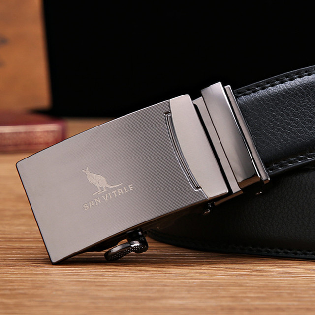Men's Luxury Genuine Leather Automatic Buckle Belt