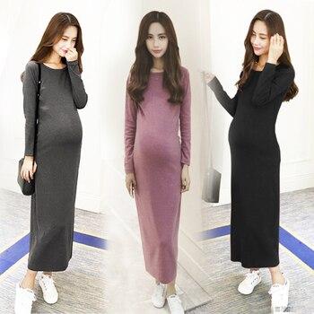 8f4125881 Vestidos de maternidad vestido largo para las mujeres embarazadas  Maternidade bohemio más tamaño Full Sleeve vestido para el embarazo mamá  ropa