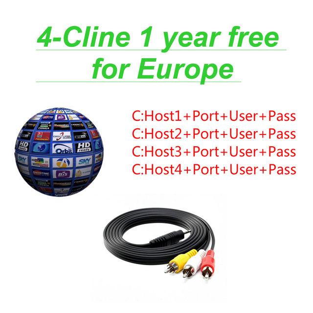 FREESAT V7 With 1 Year Europe Cline 4 lines cam Spain Germany UK French Polsat NL Channels Satellite receiver DVBS2 set top BOX
