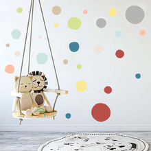 36pcs High Qulaity Colorful Polka Dots Wall Stickers Gray Pink Black Sticker For Modern Kids Baby Bedroom Decor