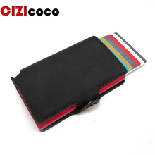 Metal Card Holder RFID Blocking Aluminium Leather Business ID Credit Card holder Men Slim Case Wallet Purse
