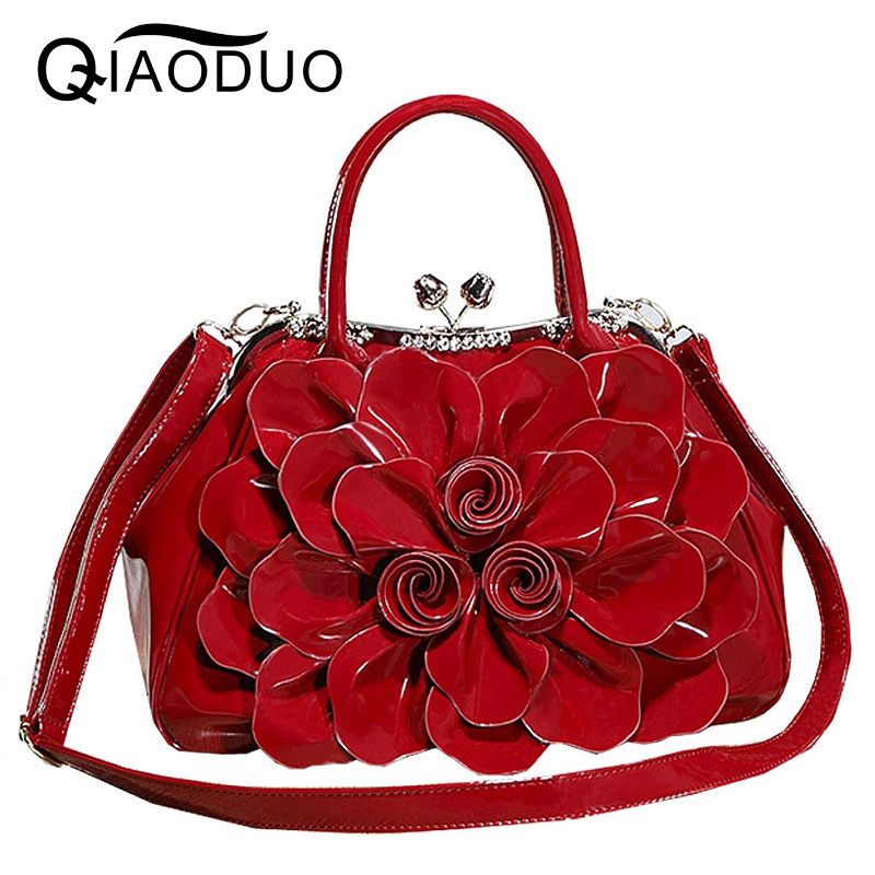QIAODUO Bags Handbags Women Famous Brands Fashionable Rhinestones Patent Leather Women Messenger Bags Flowers Bridal Handbag