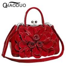 QIAODUO Bags Handbags Women Famous Brands Fashionable Rhinestones Patent Leather Women Messenger Bags Flowers Bridal Handbag Red