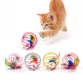 1pc Cat Toy Stick Feather Wand With Bell Mouse Cage Toys Plastic Artificial Colorful Cat Teaser Toy Pet Supplies Random Color 1