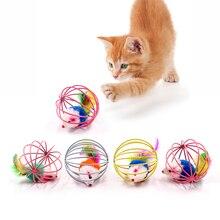 Juguete interactivo para gatos varita de plumas con campana pequeña jaula para ratones juguetes juguete de plástico Artificial colorido juguete de ingenio para gatos suministros para mascotas