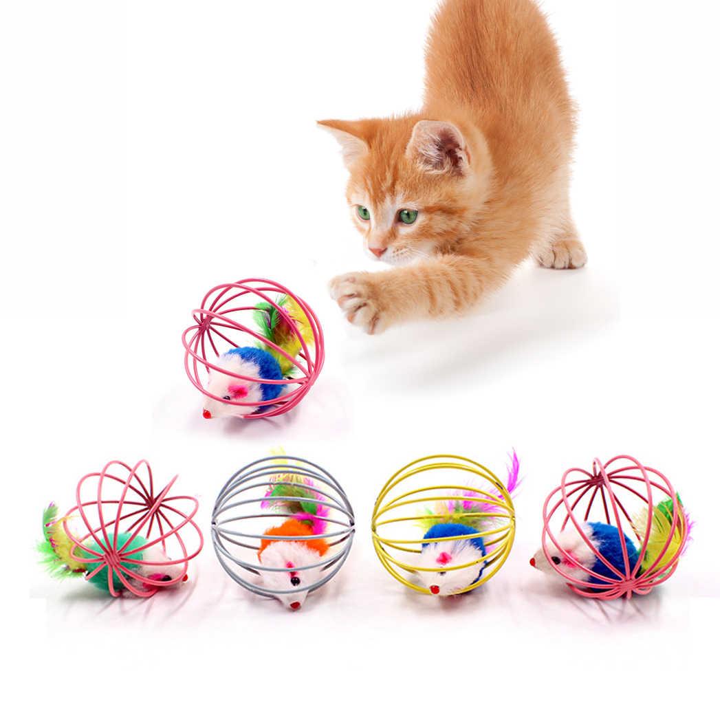 Varita de plumas de juguete interactivo para gatos con campana pequeña, jaula para ratón, juguete de plástico Artificial de colores, juguete de ingenio para gatos y mascotas