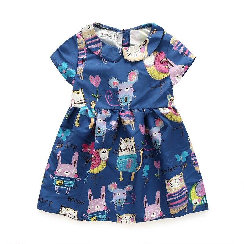 qz883 kimocat Rapunzel Princess Girls Short Sleeve Peter Pan Collar Dresses Carton Print Matching Clothes Kid's Toddler Clothing